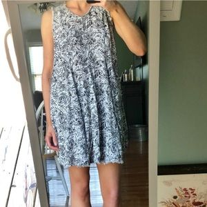 Altar'd State Grey Leaf Print Swing Dress Sz M